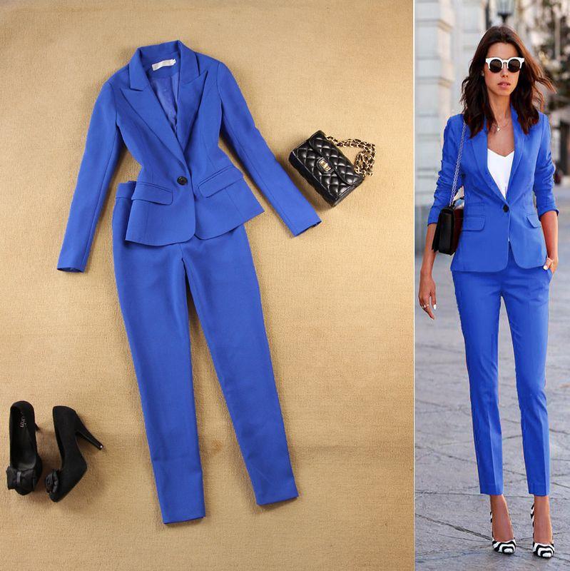 Automne de mode costume costume femelle carrière veste de costume et de longues sections tempérament casual deux-pièce pantalon tideThe Newdo499