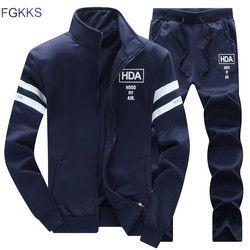 FGKKS New Tracksuits Men Set Thicken Fleece Hoodies + Pants Suit Spring Sweatshirt Sportswear Set Male Hoodie Sporting Suits