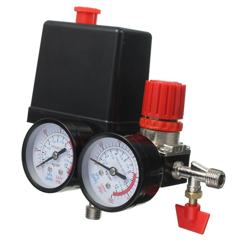New Arrival Air Compressor Pressure Valve Switch Manifold Relief Regulator Gauges 180PSI 240V 45x75x80mm Favorable Price
