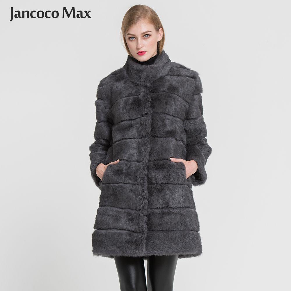 Jancoco Max 2018 New Winter Real Rabbit Fur Jacket Warm Soft Long Fur Coat Women Christmas Dress S1675