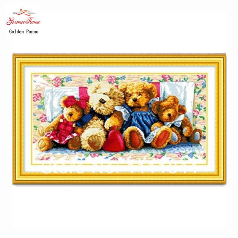 Couture, point de croix, ensembles pour kits de broderie, bricolage DMC famille d'ours image motifs compté croix-couture, art de noël