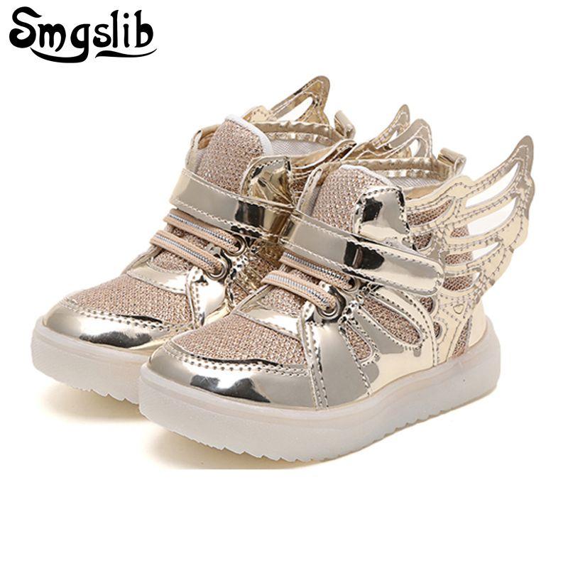 SMGSLIB Enfants chaussures avec la lumière Nouvelle led chaussures pour enfants Lumineux Garçon Fille LED Clignotant Chaussures Enfants Ailes De Mode Brillant sneakers