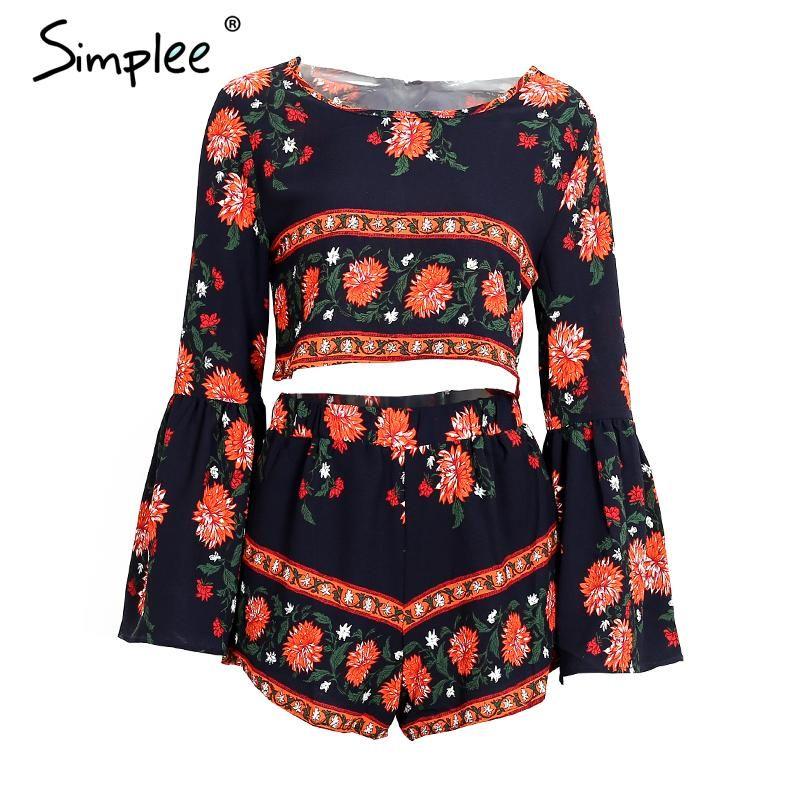 Simplee одежды Boho печати пляжные элегантный комбинезон летний стиль спинки сексуальный комбинезон Для женщин комплект из двух предметов корот...