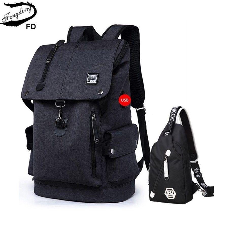 FengDong 2 pièces grande taille noir sac à dos étanche hommes sac d'école ensemble lycée sac à dos pour garçon une épaule fronde sac de poitrine