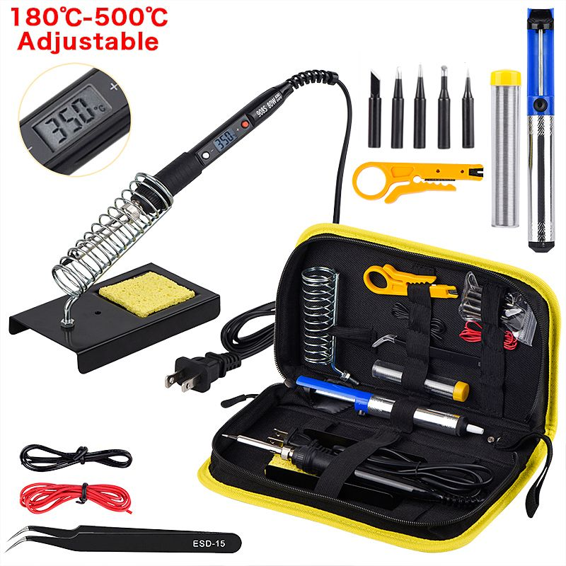 JCD Adjustable Temperature LCD Soldering iron kit 110V 220V 80W Solder welding tools soldering tips wire Desoldering Pump Heater