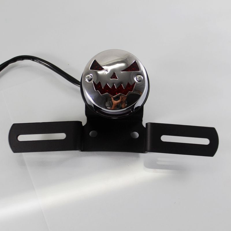 Motorcycle Chrome Pumpkin LED Brake Lights License Plate Integrated Taillight DC 12V Universal For Harley Honda Suzuki Yamaha