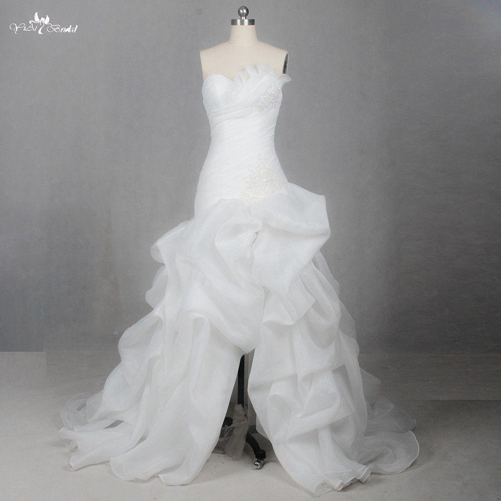 LZ205Plest Hochzeitskleid Kristall Und Pailletten Kleider Schlitz Rock