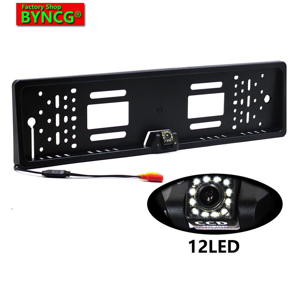 BYNCG 170 cadre de plaque d'immatriculation de voiture européenne caméra de recul de vue arrière automatique 12 LED LED CCD universel Vision nocturne