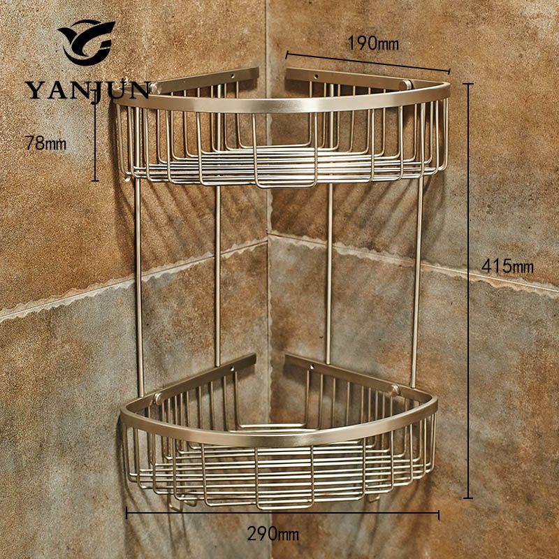 Yanjun 304 acier inoxydable brossé coin étagère douche Caddy unité de range-câbles salle de bain Rack salle de bains accessoires YJ-7522