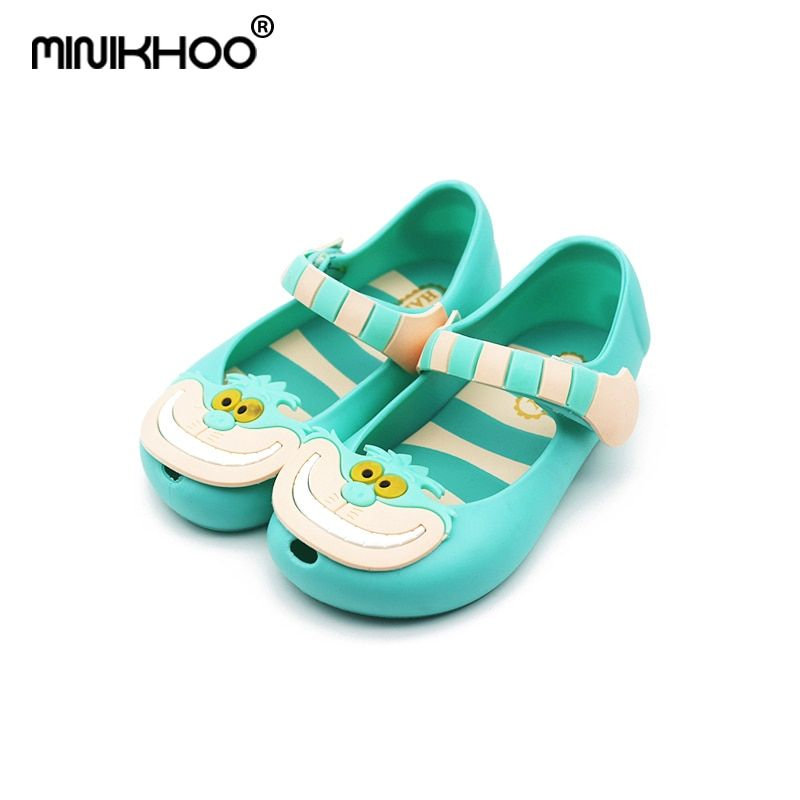 Mini Melissa Mini Alice In Wonderland The CheshireCat Cartoon Jelly Sandals Shoes Kids Girls Sandals High Quality EUR 24-29