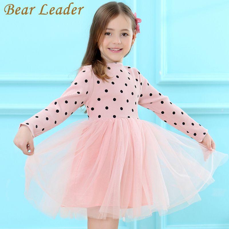 Bear Leader Girls Dress 2017 Brand Princess Dress Long Sleeve Dot Design for Girls Bow Voile Dress Children Clothing 3-7years