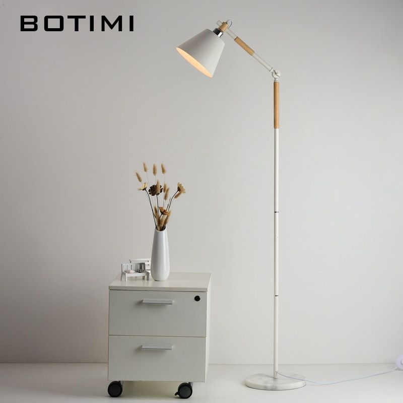 BOTIMI European-style Floor Lamp Nordic Wood Standing Light For Living Room Bedroom Hotel luminaria de mesa E27 Lamparas