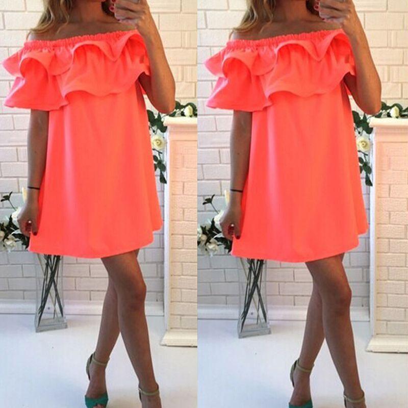 SHIBEVER Party femmes robes d'été plage fille mode courte épaule dénudée Mini décontracté Sexy robe dames Boho robe 2017 CD1329