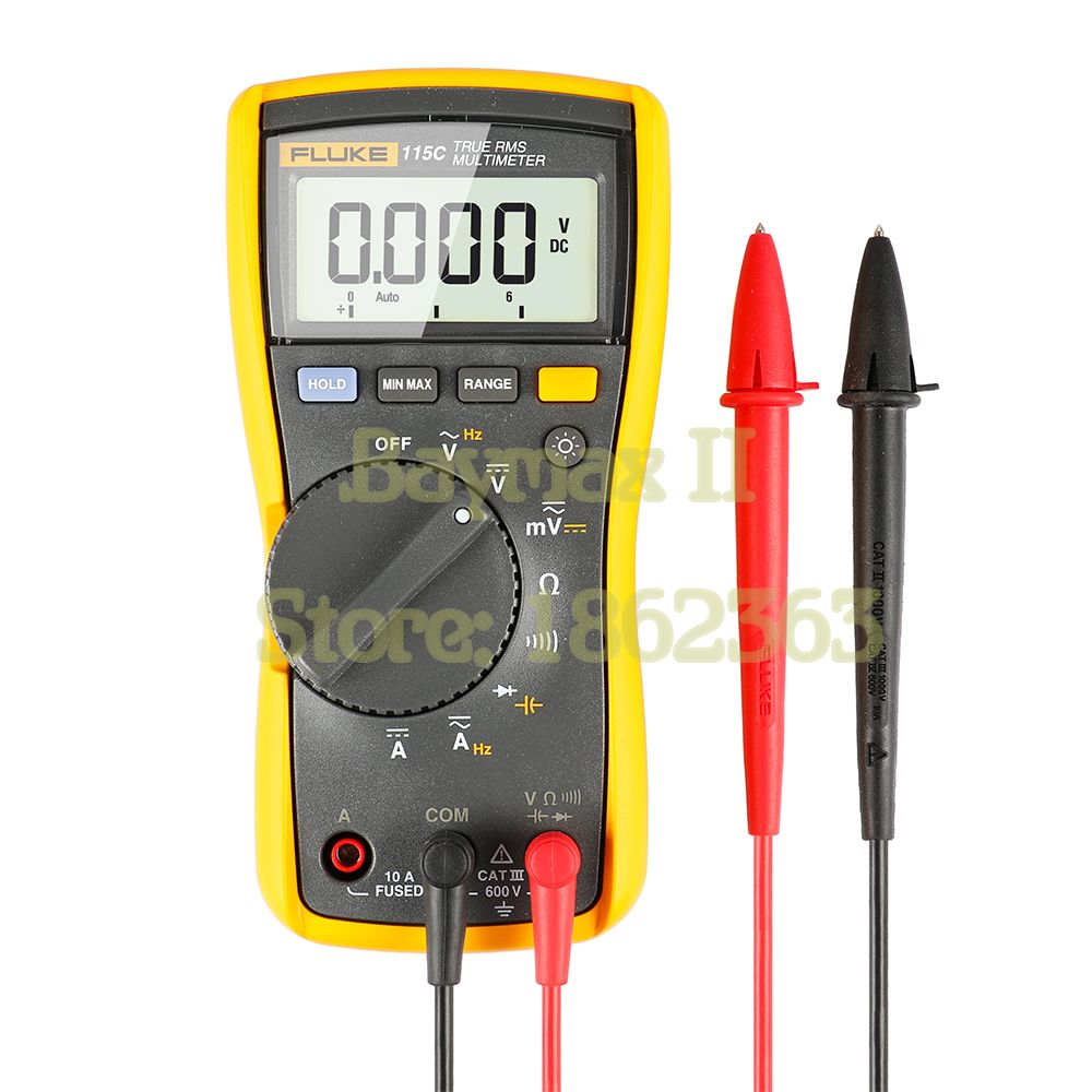 Fluke 115C 6000 Count True RMS AC/DC Voltage Current Multimeter with Capacitance Test up to 9999uF