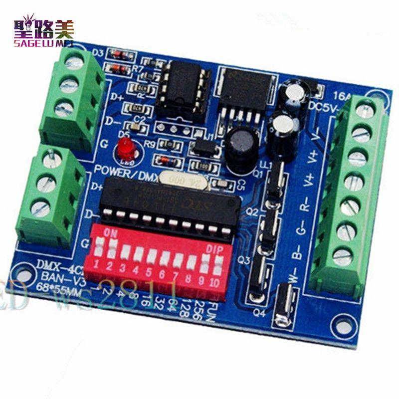 Gros 4CH 4 canaux RGBW Facile dmx512 DMX Décodeur, Gradateur, Contrôleur, Pilote, DC5V-24V pour LED Bande lumière Lampe De Bande Module