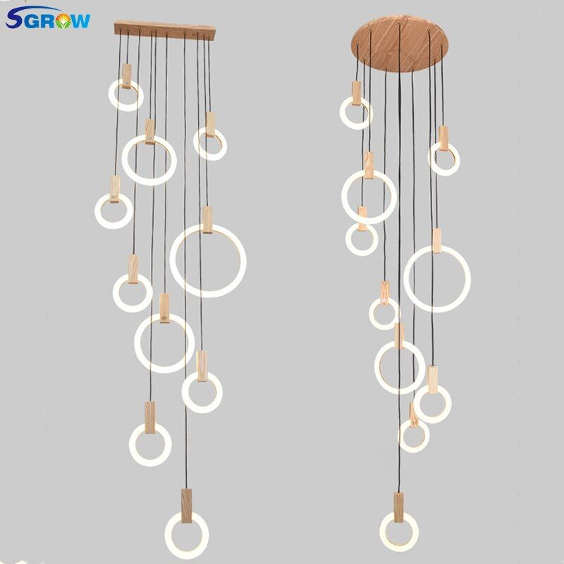 SGROW Multiple Acrylic Ring Combinations Pendant Light Fixtures 5/7/10 Heads Wooden Hanging Lamp Indoor Lighting for Living Room