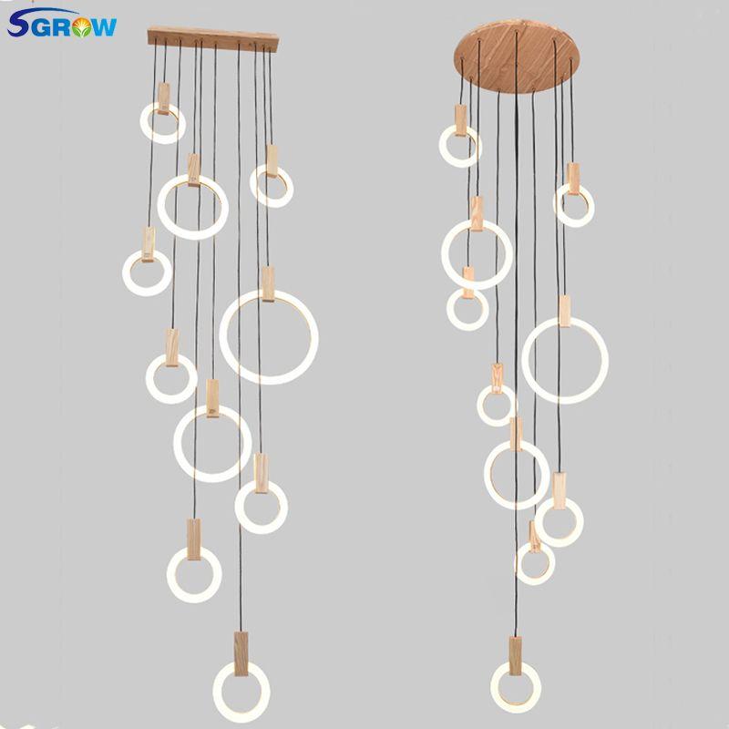 SGROW Multiple Acrylic Ring Combinations Pendant Light Fixtures 5/7/10 Heads Wooden Hanging Lamp Indoor Lighting for Living Room