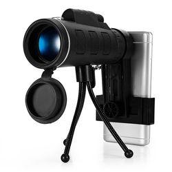 40X60 BAK4 Bermata Teleskop HD Mini Bermata Outdoor Berburu Camping Lingkup dengan Kompas Telepon Klip Tripod