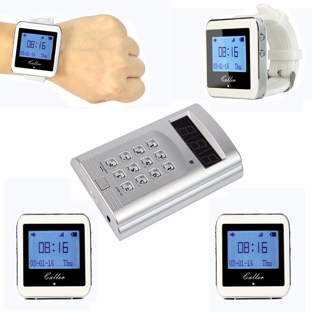 Retekess Wireless Paging Calling System Waiter Call System Restaurant Pager 1 Keyboard Transmitter+4 Watch Receiver F3288B
