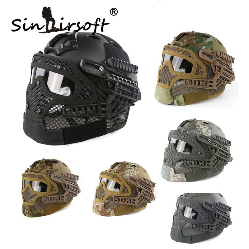 Sinairsoft New G4 system protective Tactical Helmet full face mask with Goggle for Military Airsoft Paintball Army WarGame