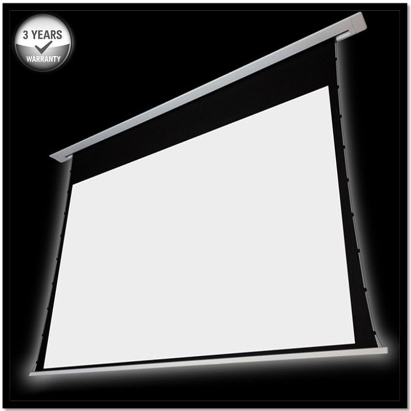 150'' 16:9 Recessed In-ceiling Tab tensioned Electric Projector Screen with 12v trigger/Remote control, HD progressive white C