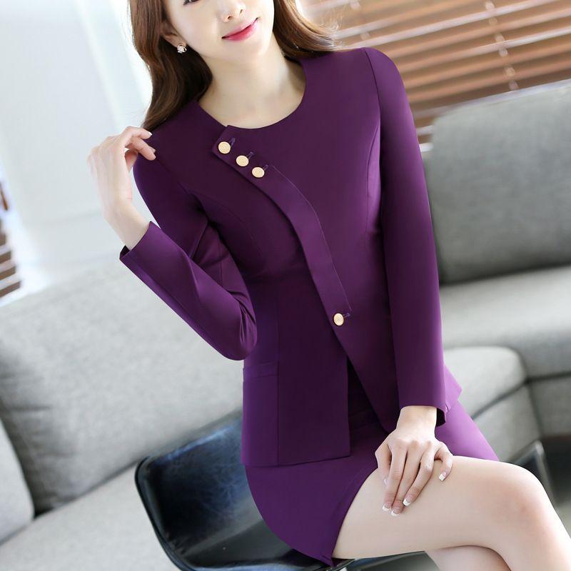 2Pieces Women High Quality Office Mini Skirt female business suit Stewardess clothing Hotel staff Beautician uniforms Plus size