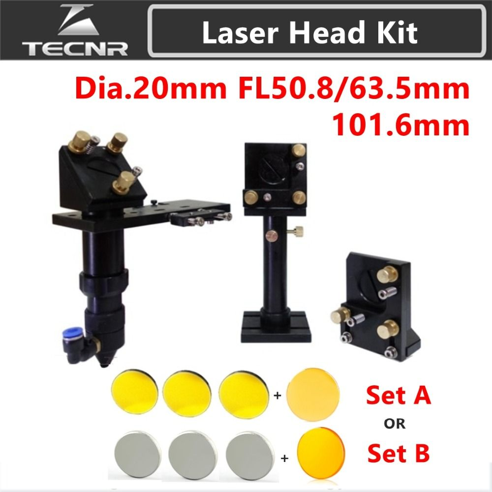 TECNR CO2 Laser Head Set CO2 + Reflective Si Mirror 25mm + USA Focus Lens 20mm for Laser Engraving Cutting Machine