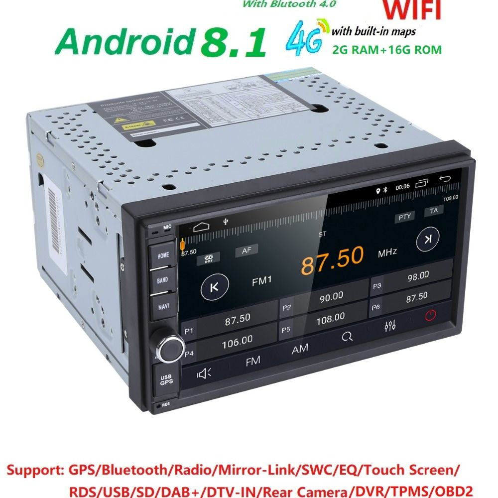 Quad Core Pure Android 8.1 Car Multimedia Player Car PC Tablet Double 2din 7'' GPS Navigation Car Stereo Radio Bluetooth NO DVD