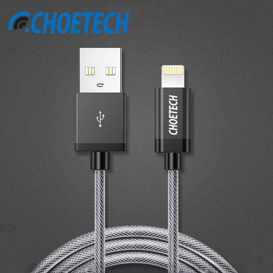 CHOETECH Für iPhone Kabel MFi Zertifiziert Für Blitzkabel 1 Mt 2.4A Nylon Geflochten 8 Pin Für iPhone 8/7/6 plus/X Telefon Usb-kabel