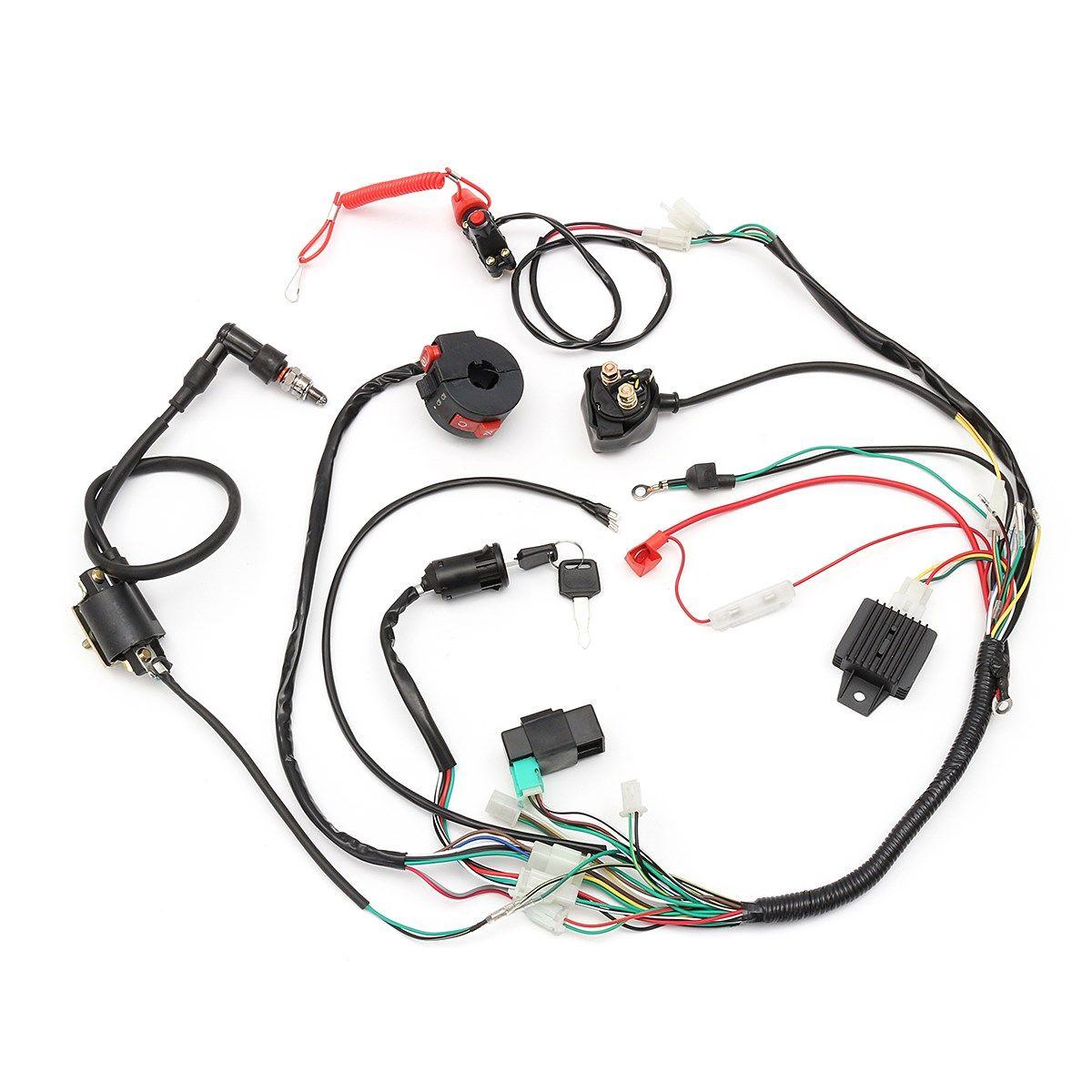 CDI Engine Start Harness Set Wiring Harness Loom Solenoid Coil Rectifier For 50/70/90/110/125CC Quad Dirt Bike ATV Go Kart