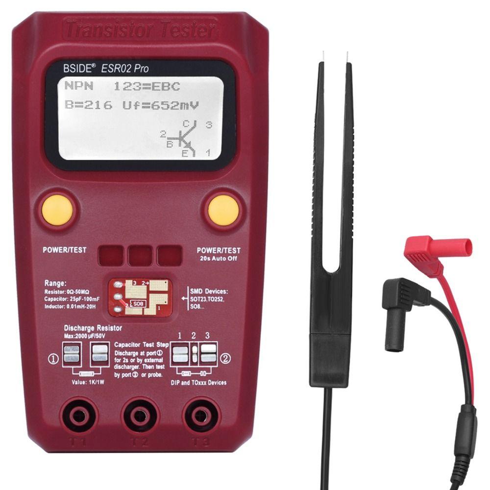 BSIDE Digital Transistor Tester SMD Components Diode Triode Resistor Capacitor Inductor ESR Meter Multimeter with Tweezers