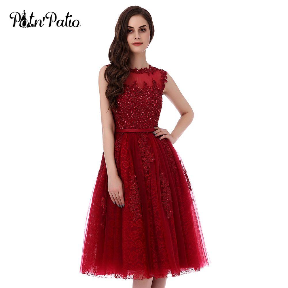PotN'Patio Cortos Vestidos de Baile 2017 Vino Rojo Más El Tamaño de Alta Calidad 6 Capas de Lujo Apliques Y Rebordear Vestidos de Noche Elegantes