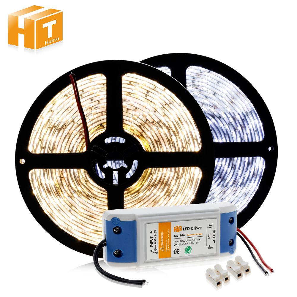 LED Strip 5630 12V 60 LED/m Warm White / White / Cold White 5M Home Decoration Lamps + DC12V 3A Driver