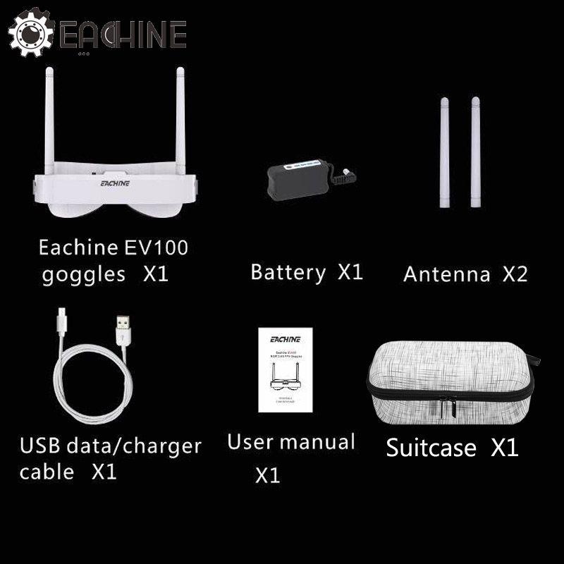 Hot Sale Original Eachine EV100 720*540 5.8G 72CH FPV Goggles w/ Dual Antennas Fan 7.4V 1000mAh Battery w/ Suitcase Bag Box
