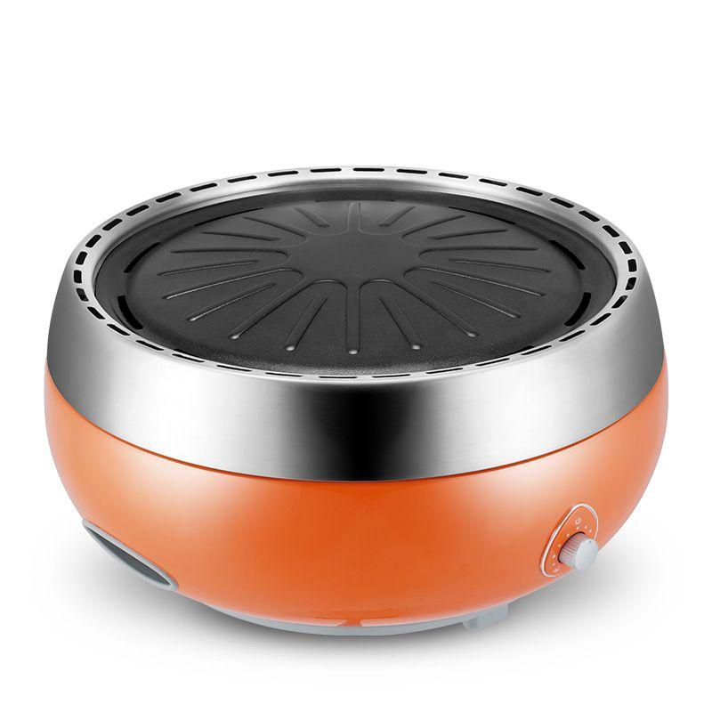 Portable Accueil Charbon Grill Coréen sans fumée Électrique Barbecue Petit Taille Électrique Grill avec USB Interface Orange