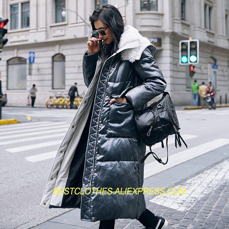 Thickening Women Winter Coat 2018 New Fashion Long Outwear Coat Snow Wear White Duck Down Lambswool Hooded Warm Down Jacket G236