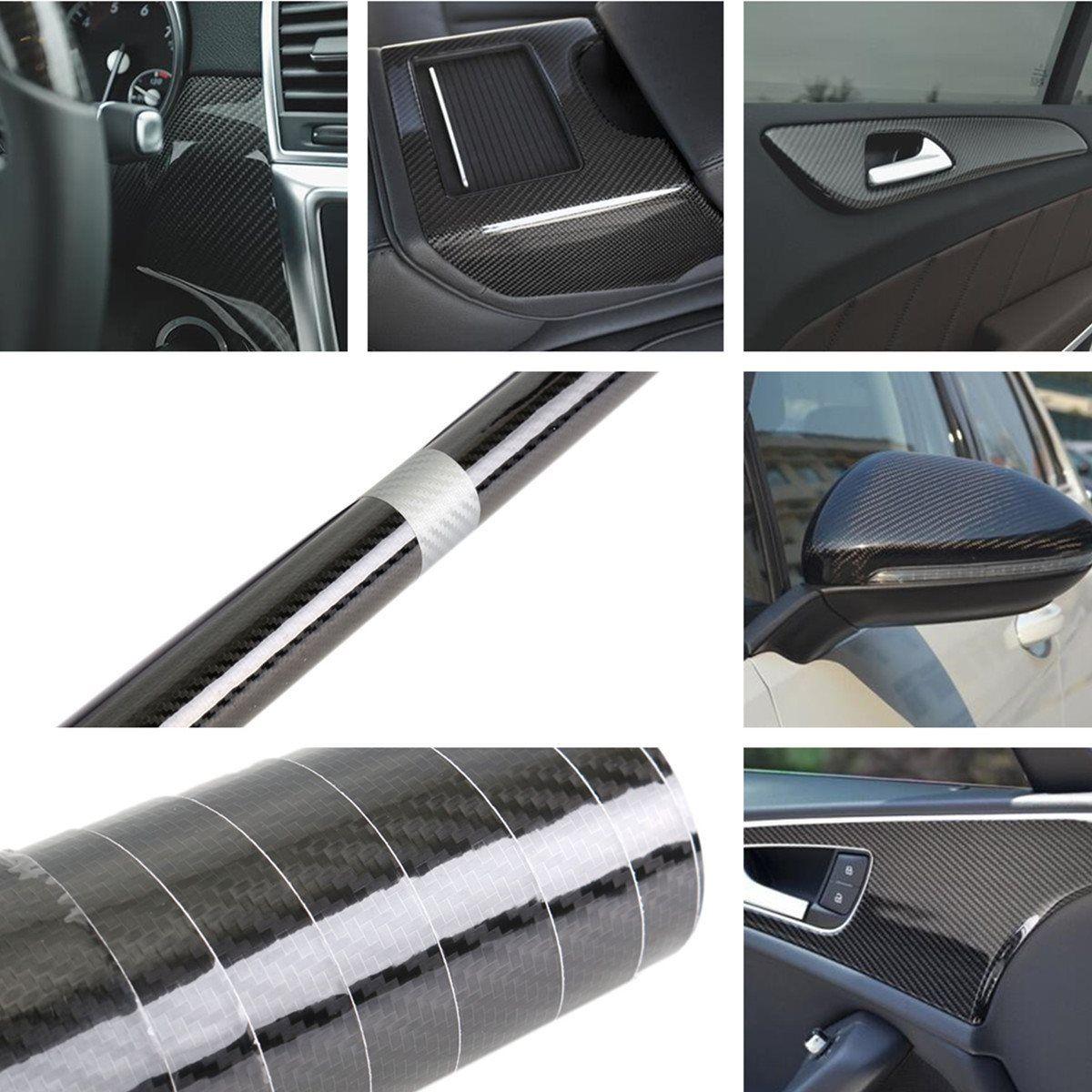 Universal 150 x 35cm Black Car Wrap Roll Sticker PVC 5D Carbon Fiber Vinyl Foil Film Decal For VW /BMW /Honda /Toyota