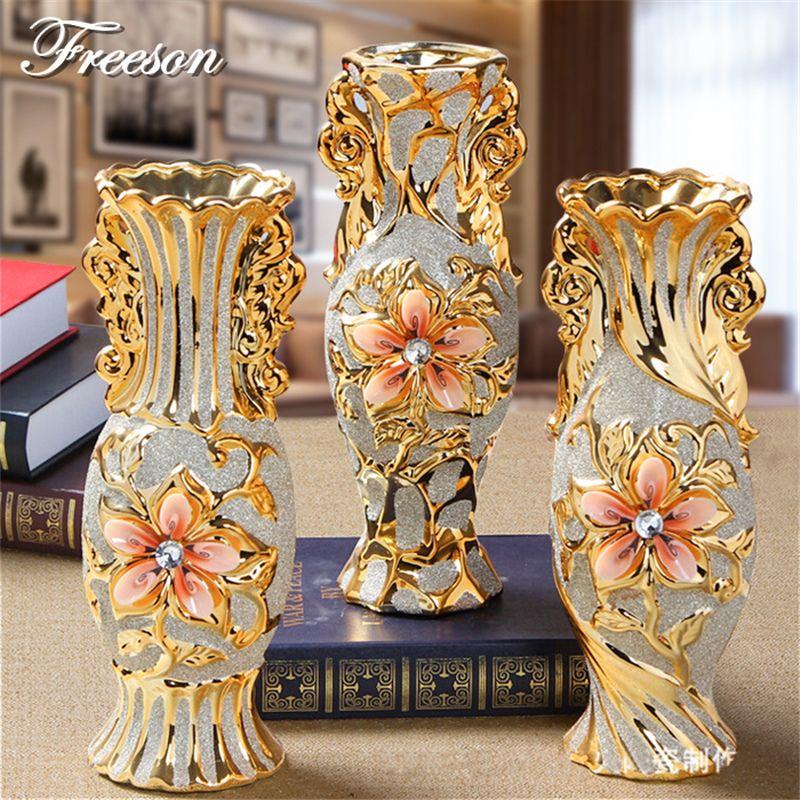 Europe plaqué or gel porcelaine Vase Vintage avancé en céramique fleur Vase pour salle étude couloir maison mariage décoration