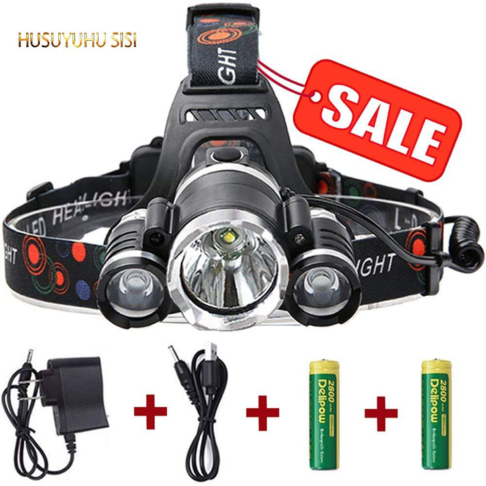 HUSUYUHU SISI Tri-core strong headlights rechargeable long-range be inductive zoom super bright head-mounted outdoor headlights