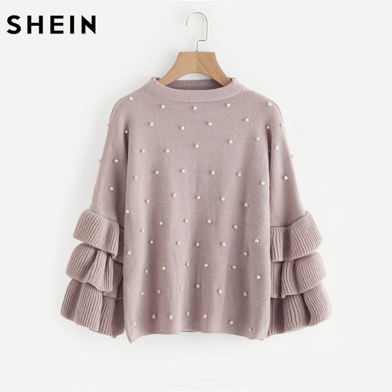 SHEIN Pearl Beaded Layered Ruffle Sleeve Loose Jumper Pink Crew Neck Long Sleeve Cute Women Sweaters and Pullovers