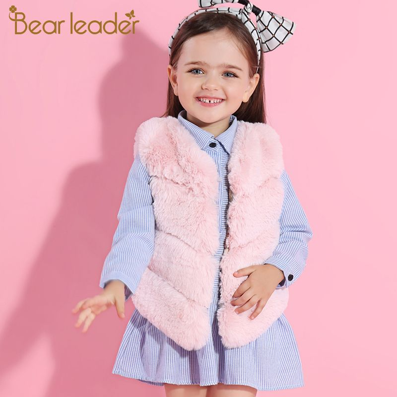 Bear Leader Girls Fur Outerwear 2017 New Winter Fashion Thick Warm Faux Fur Vest V-Neck Short Colorful Fur Vest For 3-8 Years