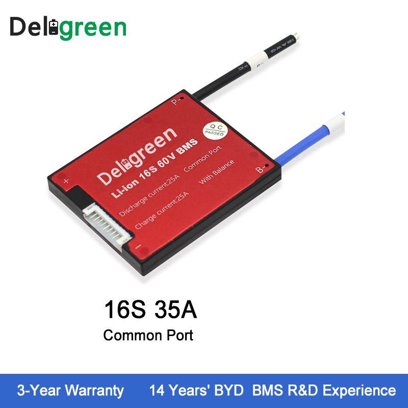 Deligreen 16S 35A 60V PCM/PCB/BMS for lithium battery pack 18650 Li-Po LiNCM Battery Pack