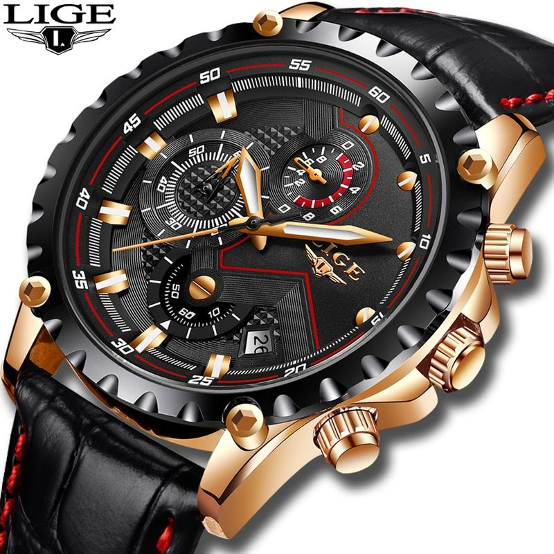2019LIGE Fashion Mens Watches Top Brand Luxury Leather Watch Men Military Sport Waterproof Analog Quartz Clock Relogio Masculino