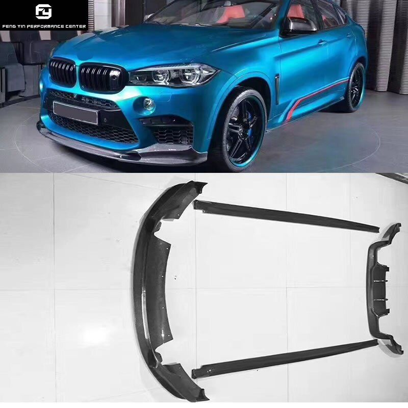 F15 X5 F16 X6 X6M 3D stil carbon fiber front bumper lip hinten stoßstange diffusor seite röcke für BMW F16 x6 X6M 3D Design 2014UP