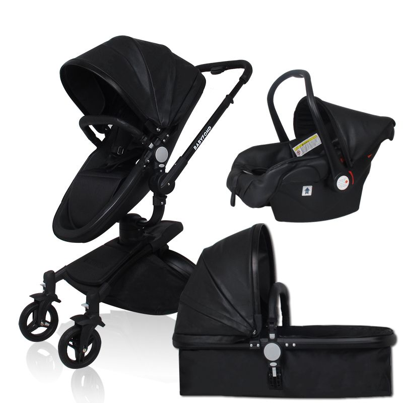 Free ship! babyfond AIQI 3 in 1 baby stroller leather two-way shock absorbers baby car cart trolley Europe baby pram gift