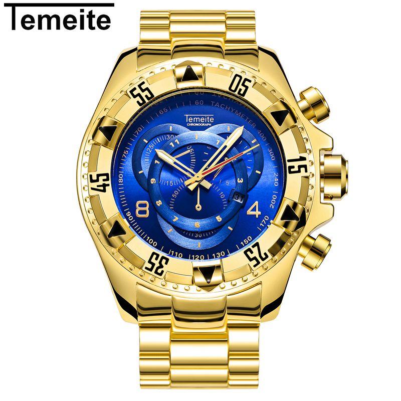 TEMEITE Watch Male Luxury Gold Quartz Wristwatch Dropshipping Wholesale Relogio Masculino