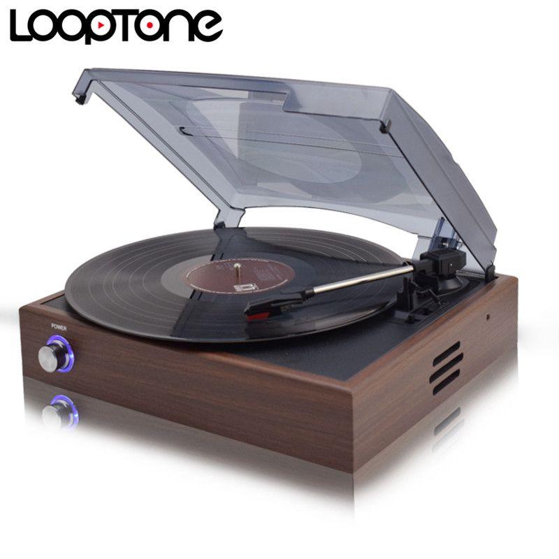 Looptone 33/45/78 об./мин. Bluetooth виниловую пластинку LP проигрыватель Проигрыватель игроков с 2 Встроенный Колонки линии из AC110 ~ 130 В и 220 ~ 240 В