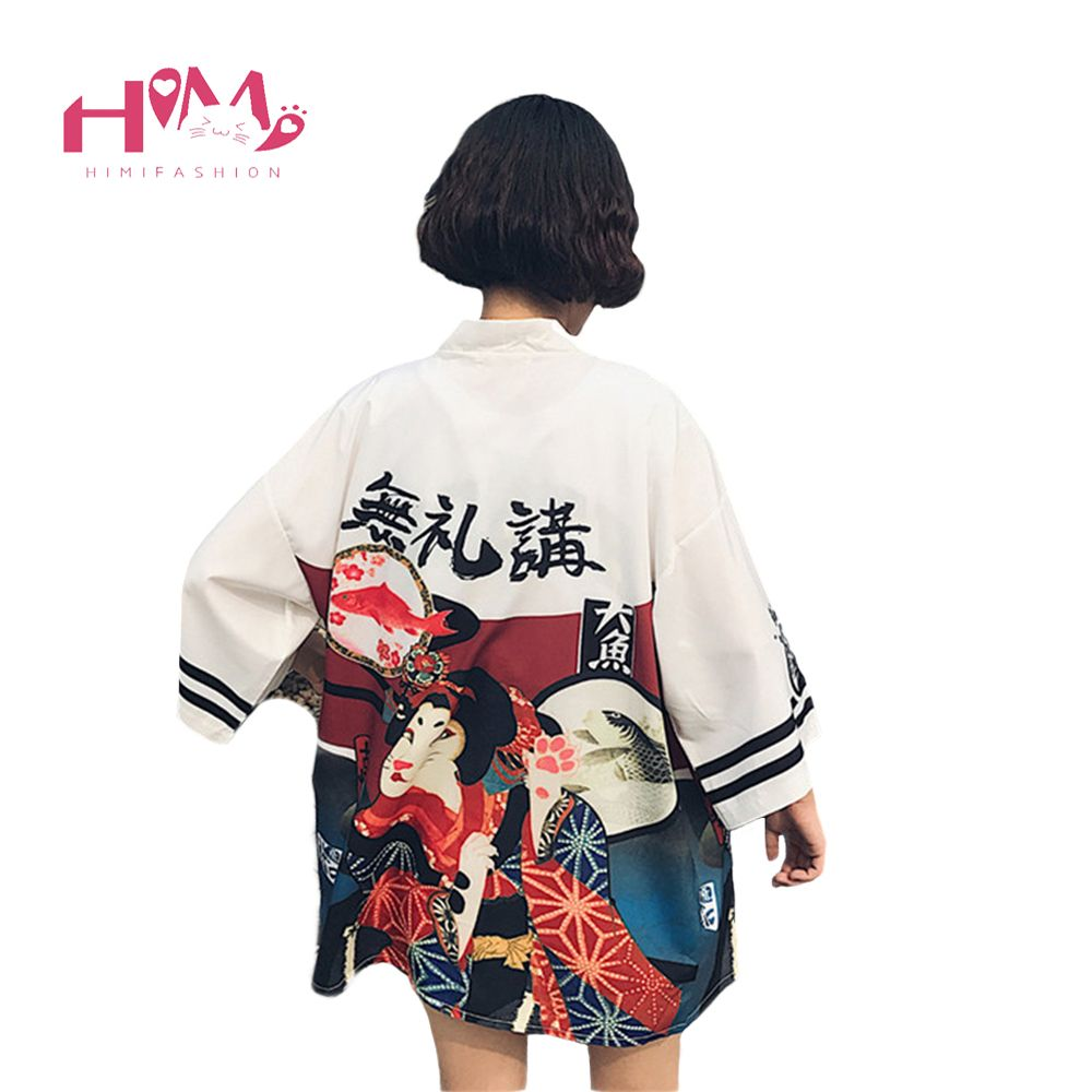 2017 Harajuku De Mode Femmes Blouses D'été Vintage Kimono Kawaii Cardigan Mince Protection Solaire Shirt Cover Up Solaire Blouse
