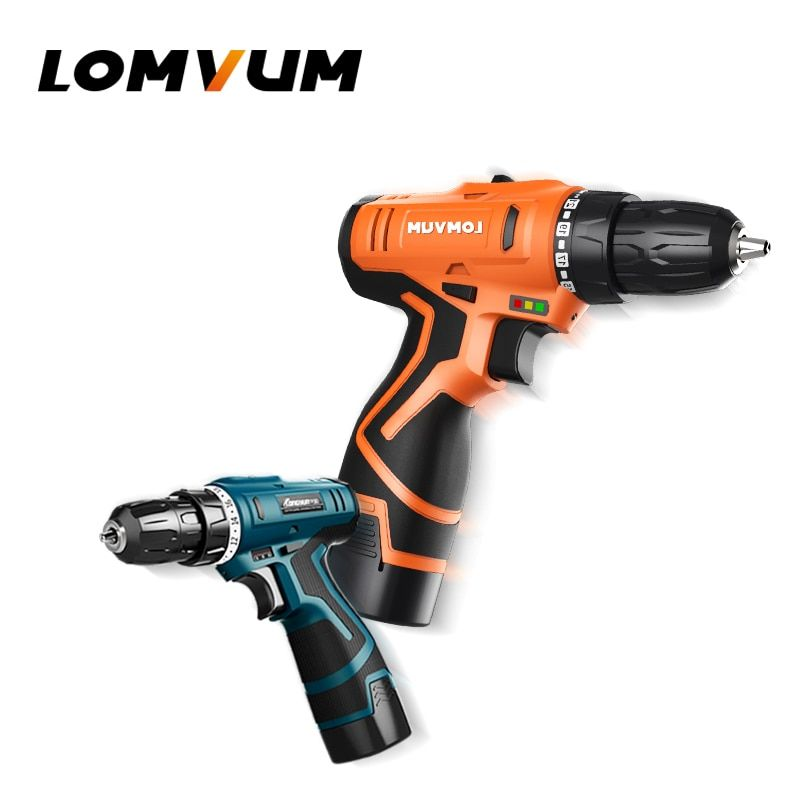 LOMVUM New 16.8V 24V Double Speed Electric Drill With Accessories Rechargeable Electric Screwdriver Mini Cordless Drill.