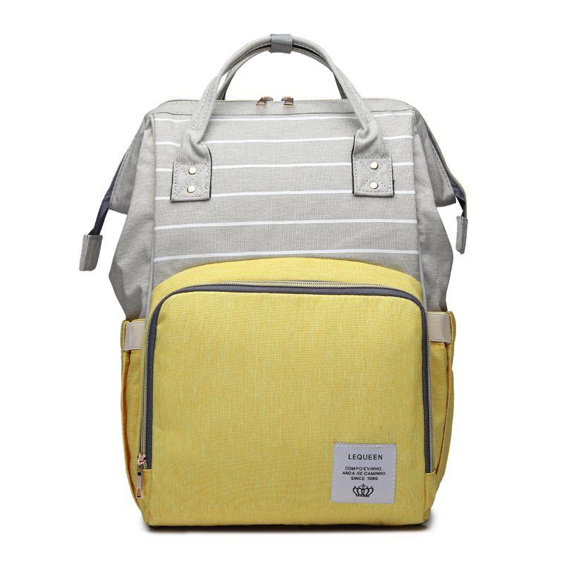 Lequeen Nursing Care Baby Bag Stripe Diaper Bag Nappy Bag Organizer Waterproof Maternity Bag